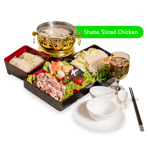 Set A <br> 6 Course Personal Pot <br> Set Lunch <br> (Shabu Sliced Chicken)